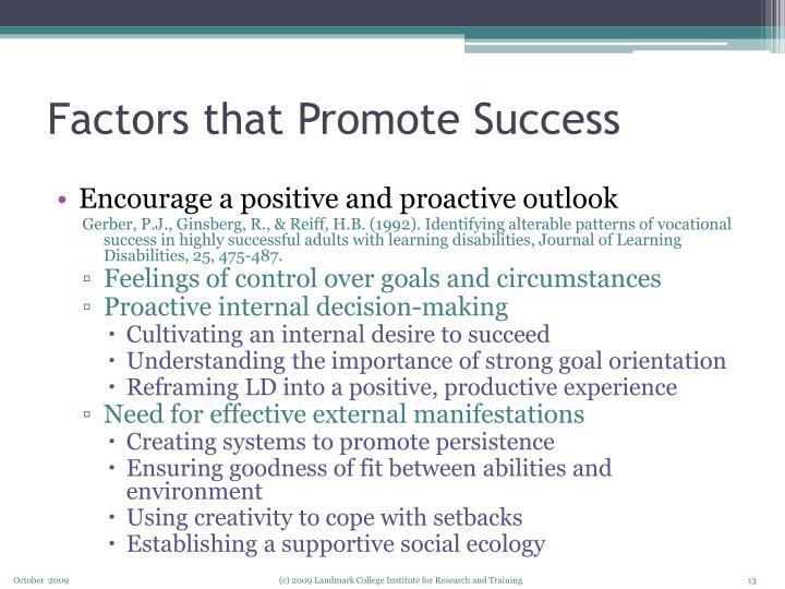 Factors that Promote Success