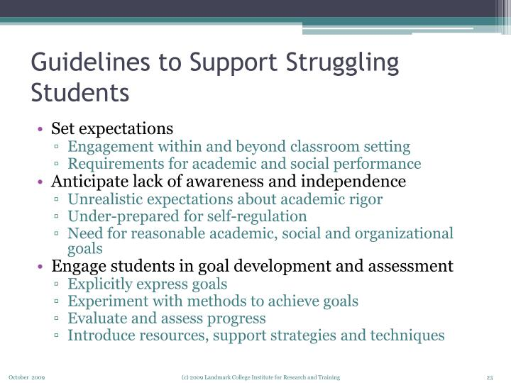 Guidelines to Support Struggling Students