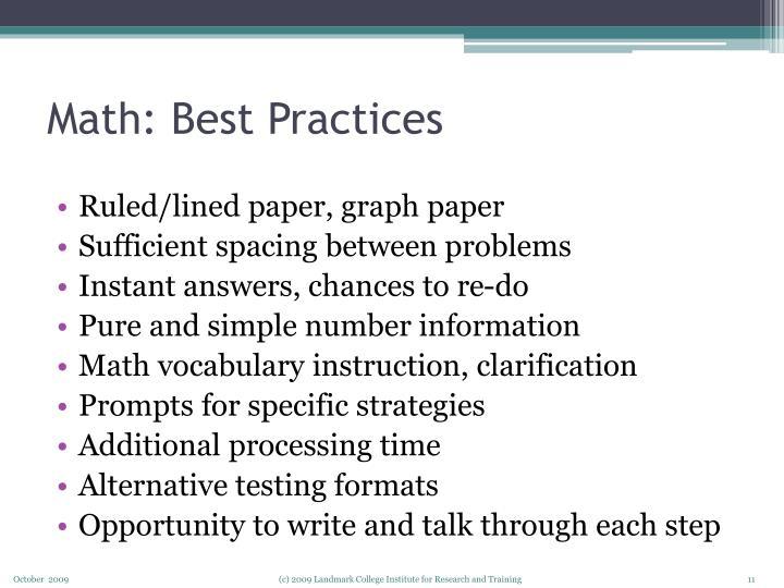 Math: Best Practices