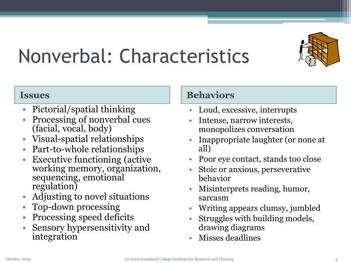 Nonverbal: Characteristics