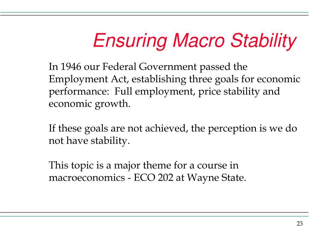 Ensuring Macro Stability