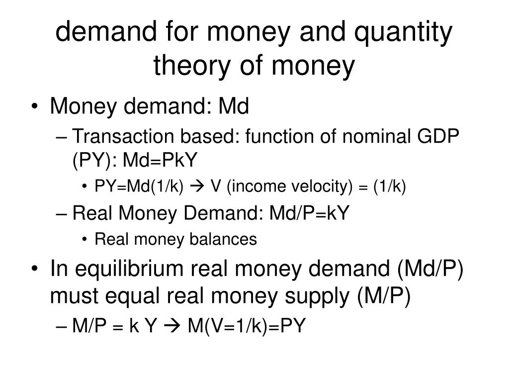 demand for money and quantity theory of money