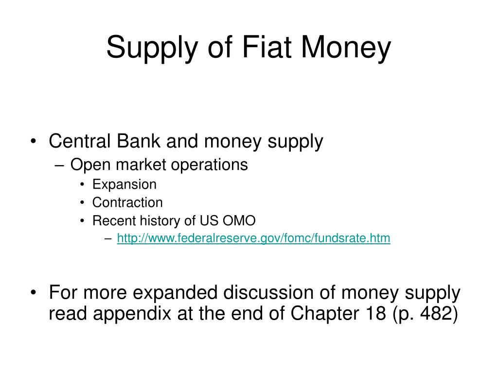 Supply of Fiat Money