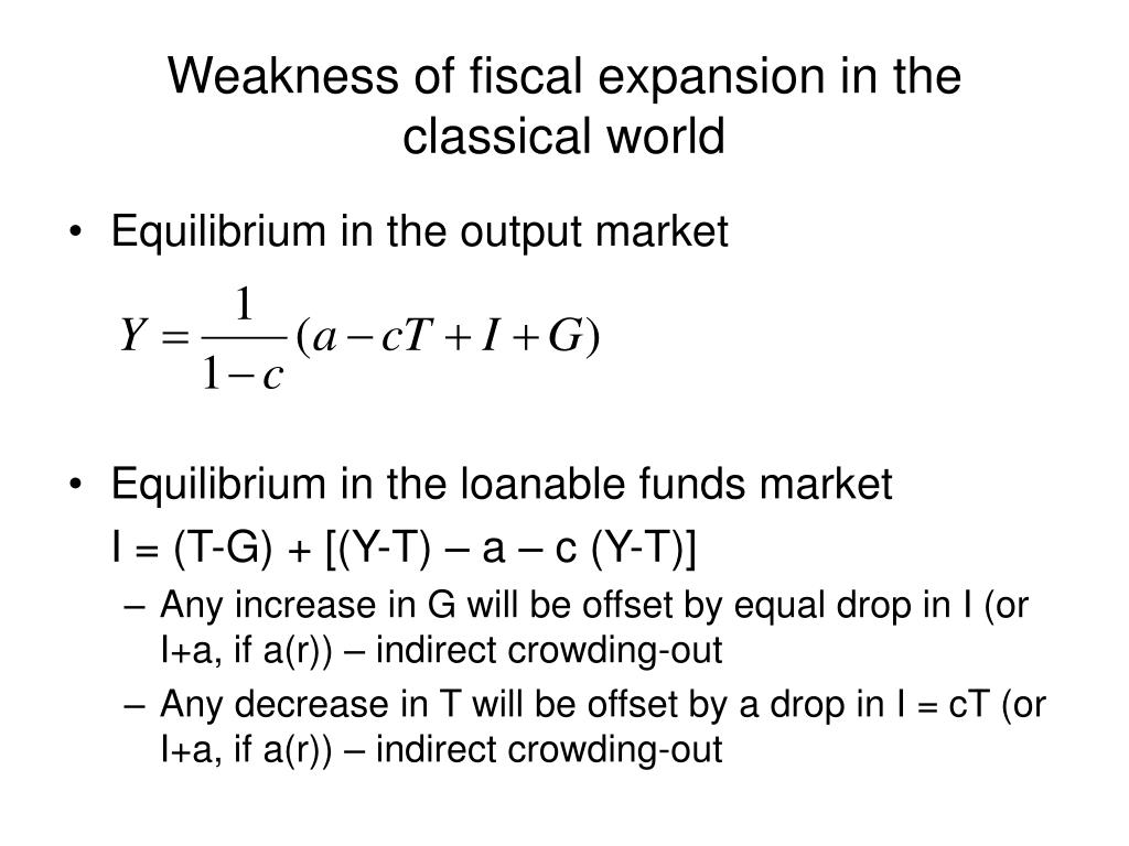 Weakness of fiscal expansion in the classical world