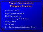 major constraints for philippine economy