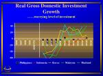 real gross domestic investment growth worrying level of investment