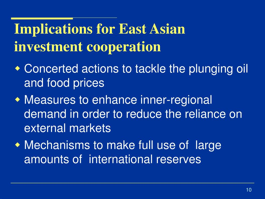 Implications for East Asian investment cooperation
