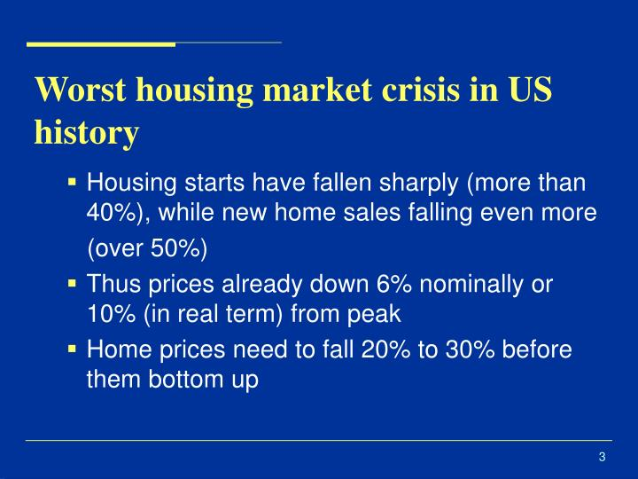 Worst housing market crisis in us history