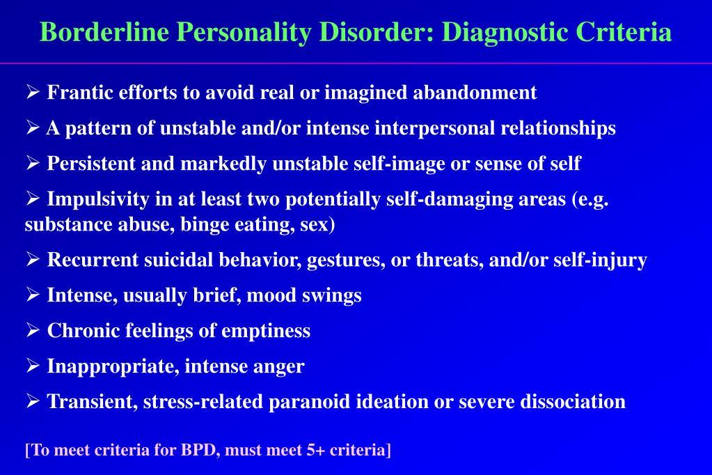 Borderline Personality Disorder: Diagnostic Criteria