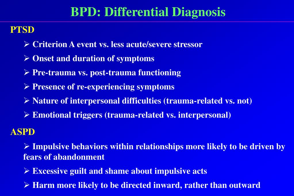 BPD: Differential Diagnosis