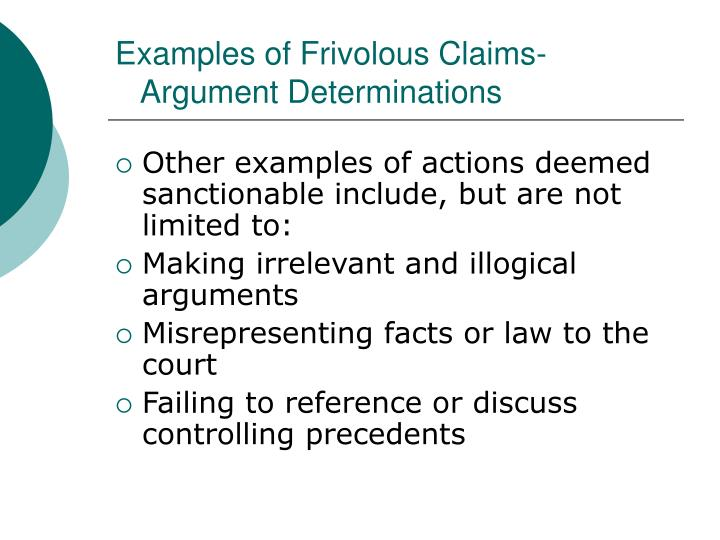 Examples of Frivolous Claims-