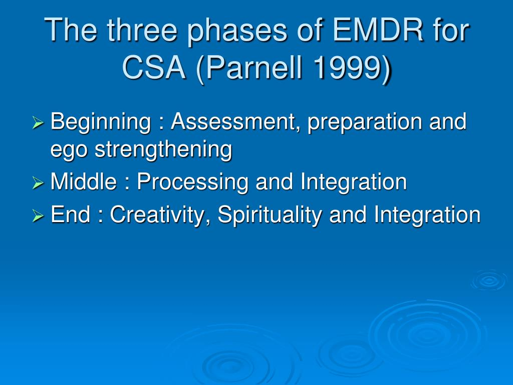 The three phases of EMDR for CSA (Parnell 1999)