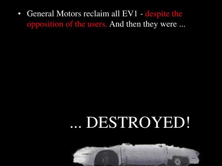 General Motors reclaim all EV1 -