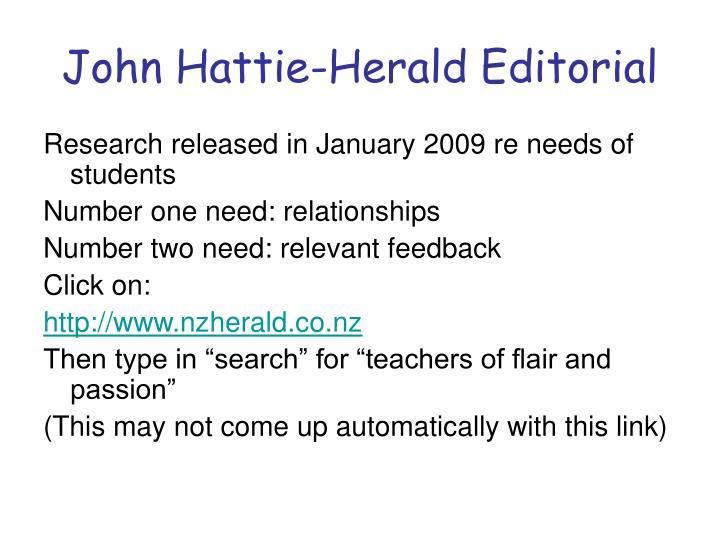 John Hattie-Herald Editorial