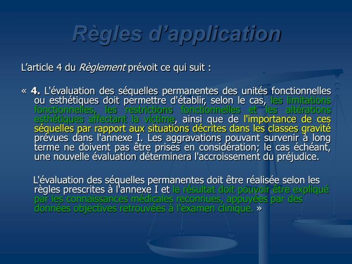 Règles d'application