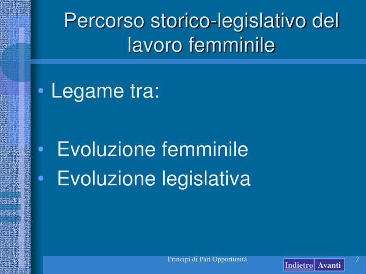 Percorso storico-legislativo del lavoro femminile