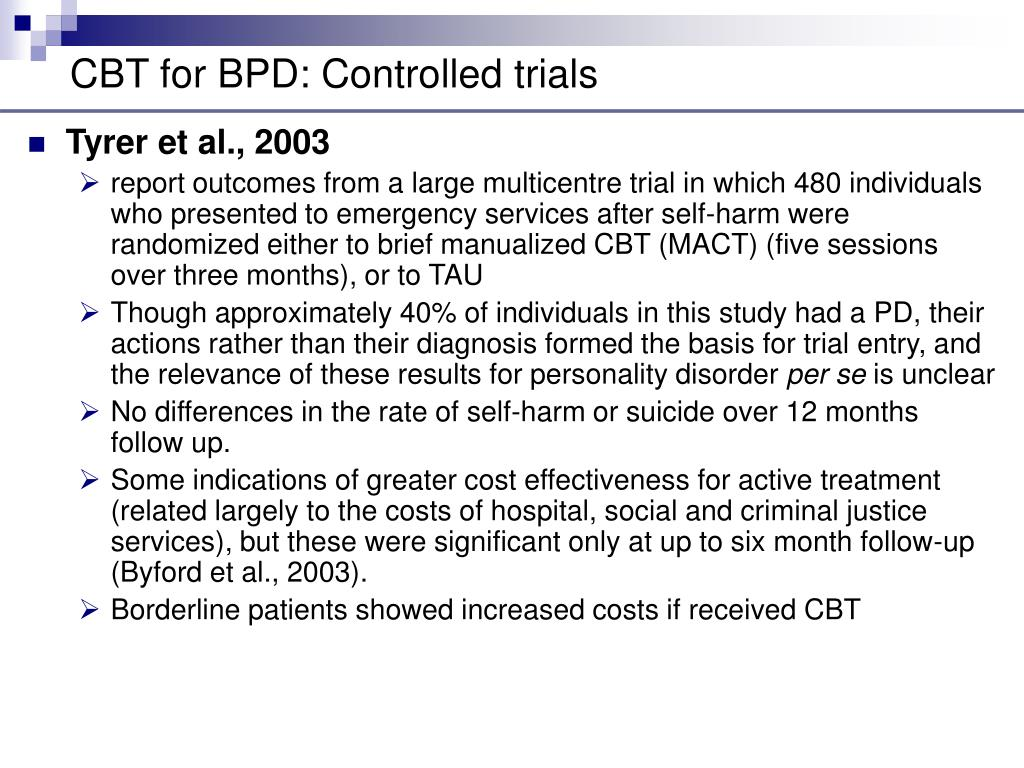 CBT for BPD: Controlled trials