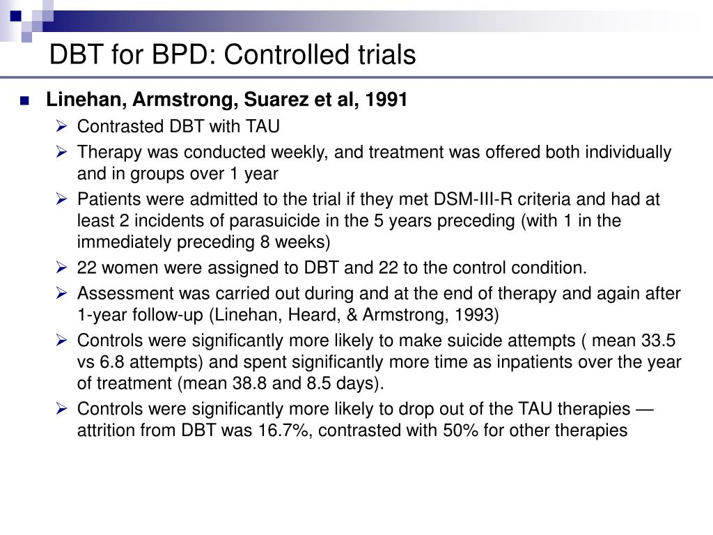 DBT for BPD: Controlled trials