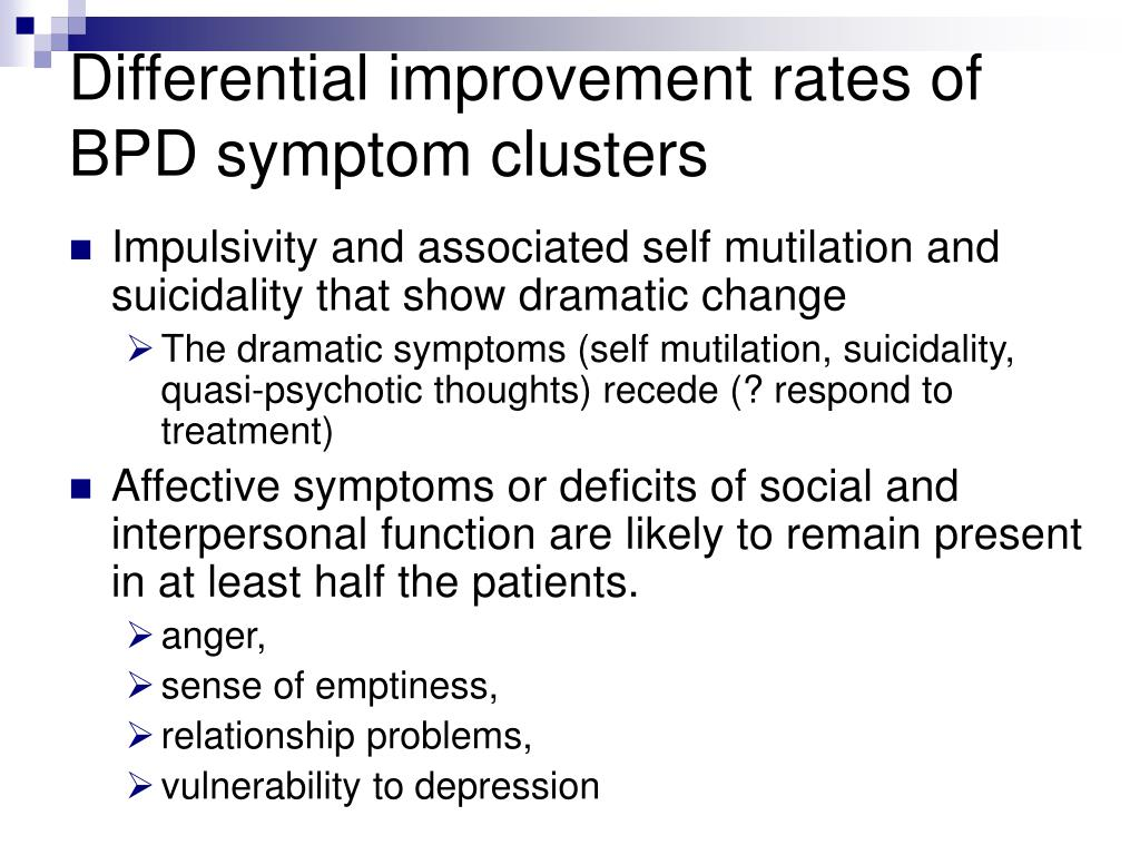 Differential improvement rates of BPD symptom clusters