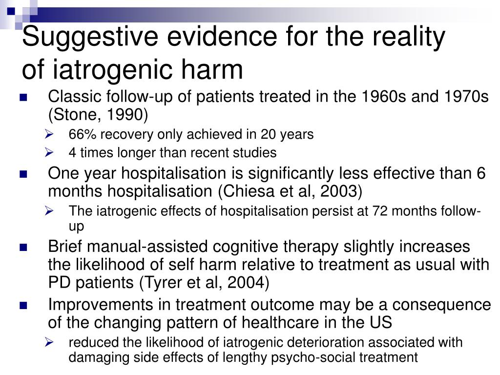 Suggestive evidence for the reality of iatrogenic harm