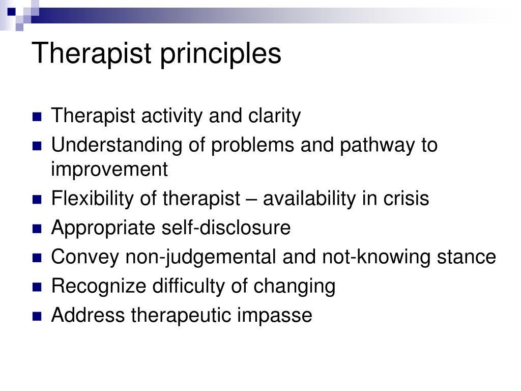 Therapist principles