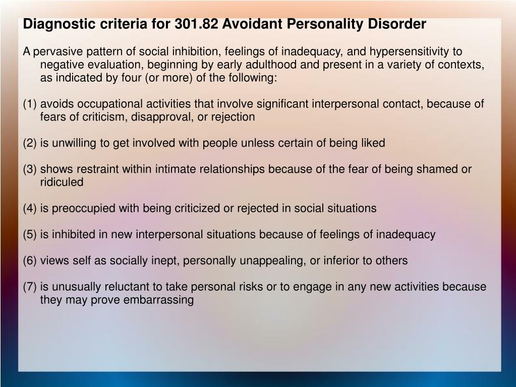 Diagnostic criteria for 301.82 Avoidant Personality Disorder