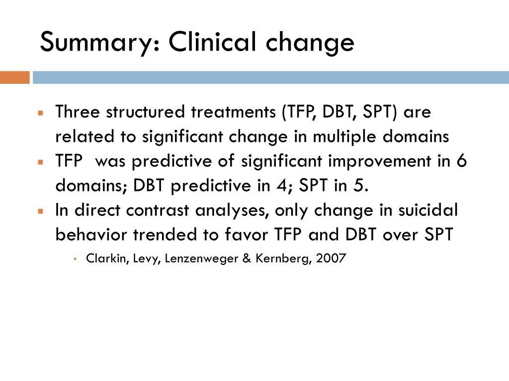 Summary: Clinical change