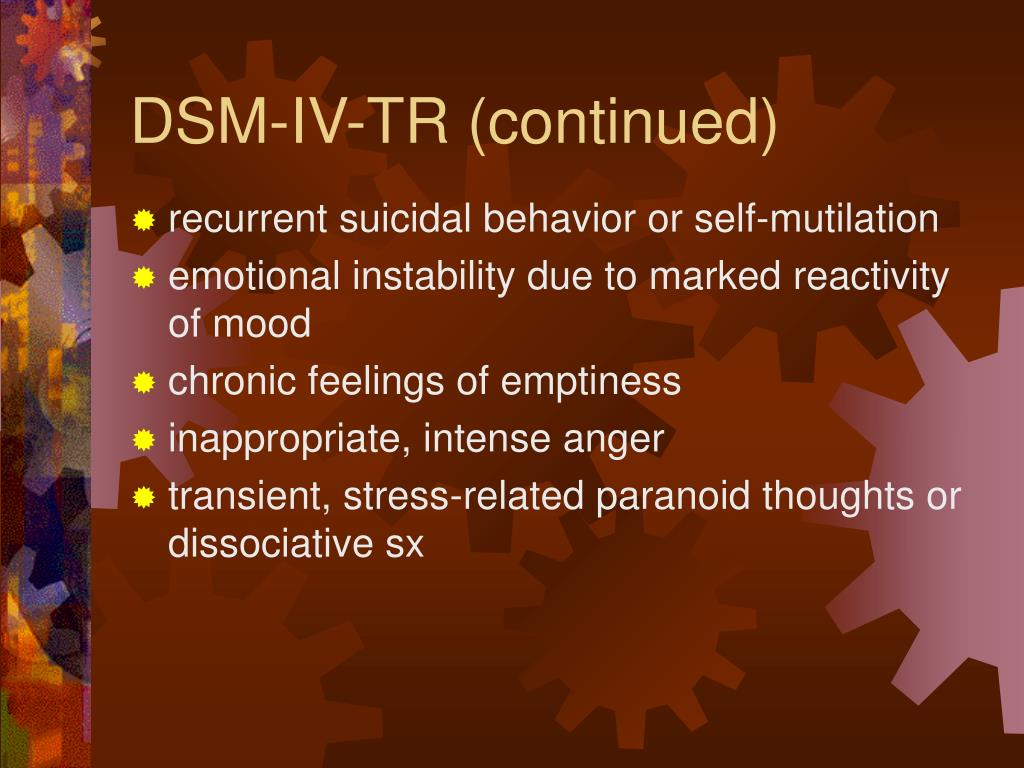 DSM-IV-TR (continued)