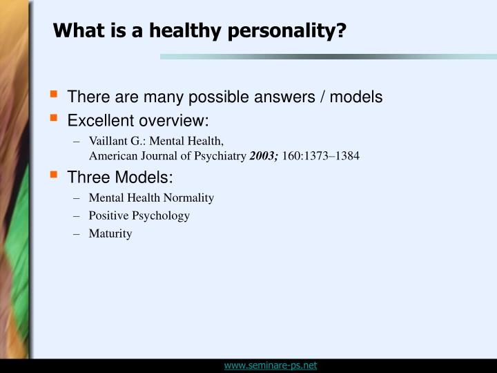 What is a healthy personality