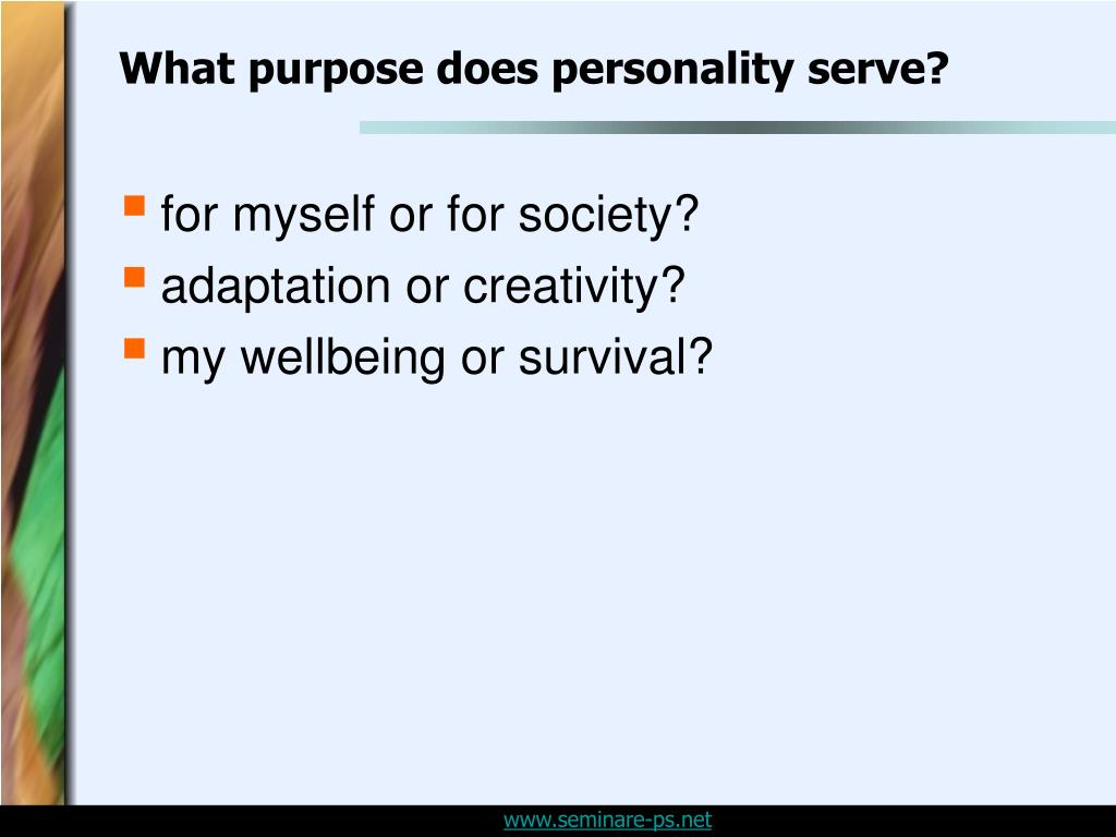 What purpose does personality serve?