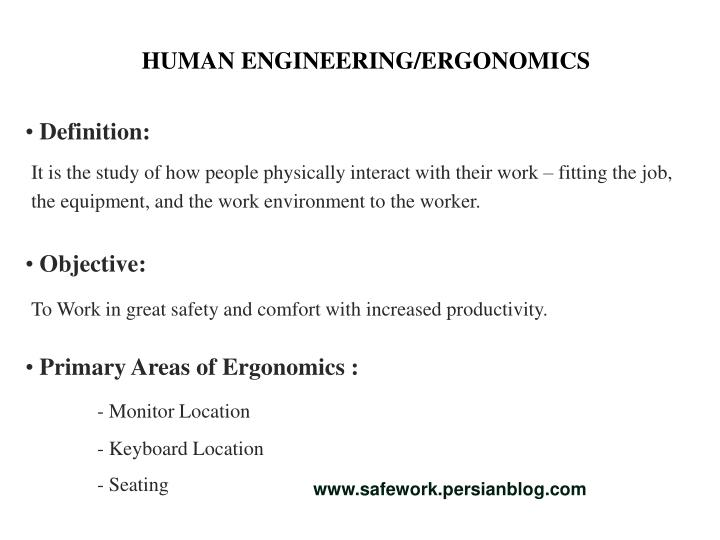 HUMAN ENGINEERING/ERGONOMICS