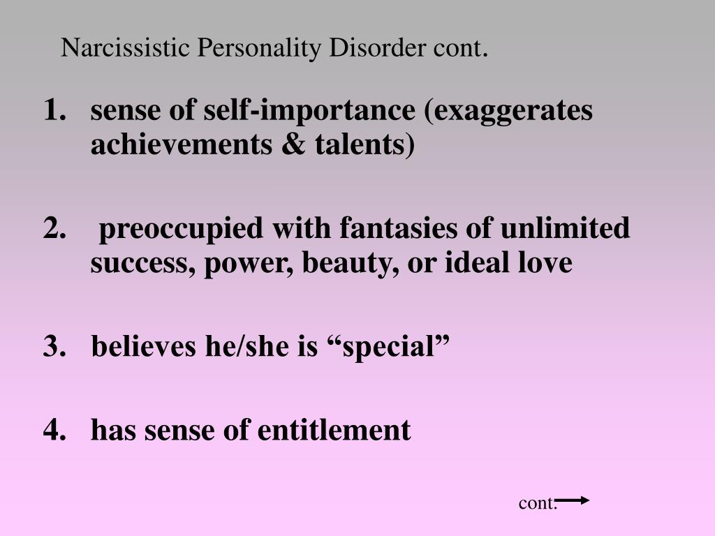 Narcissistic Personality Disorder cont