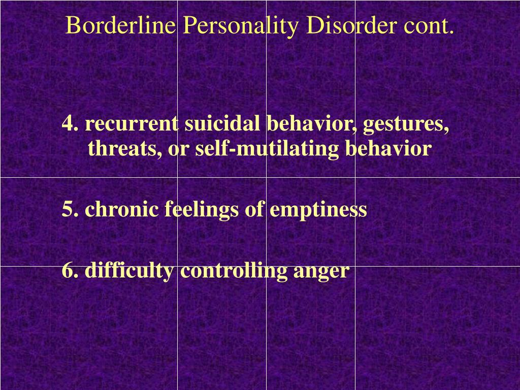 Borderline Personality Disorder cont.