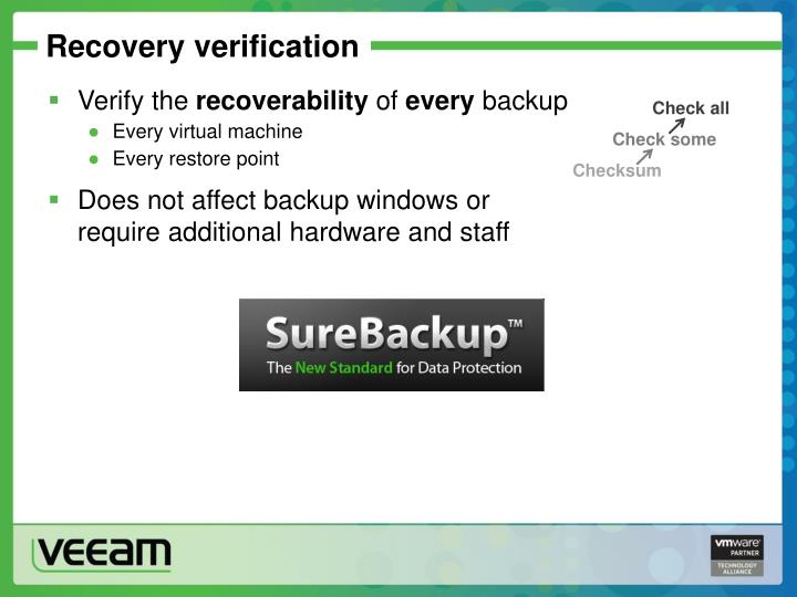 Recovery verification