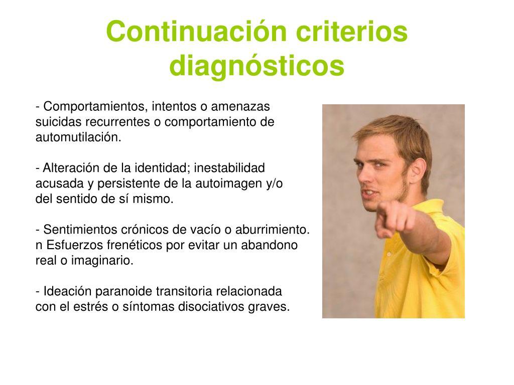 Continuación criterios diagnósticos