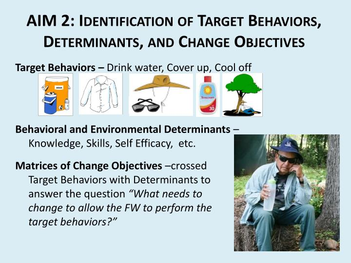 AIM 2: Identification of Target Behaviors, Determinants, and Change Objectives
