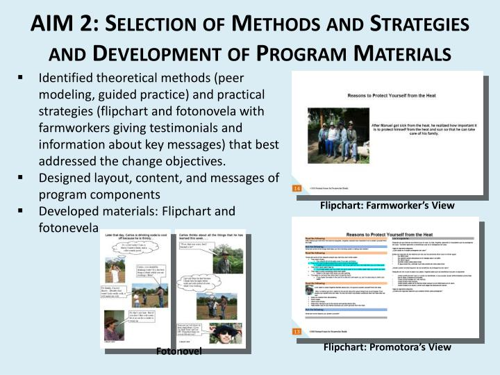 AIM 2: Selection of Methods and Strategies and Development of Program Materials