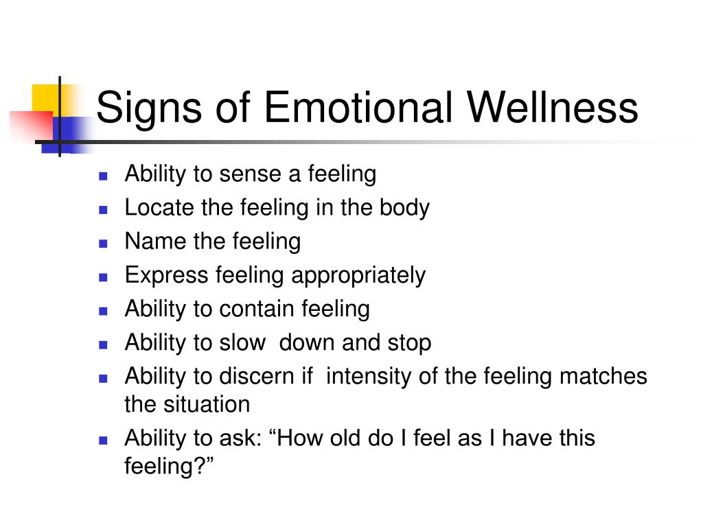 Signs of Emotional Wellness