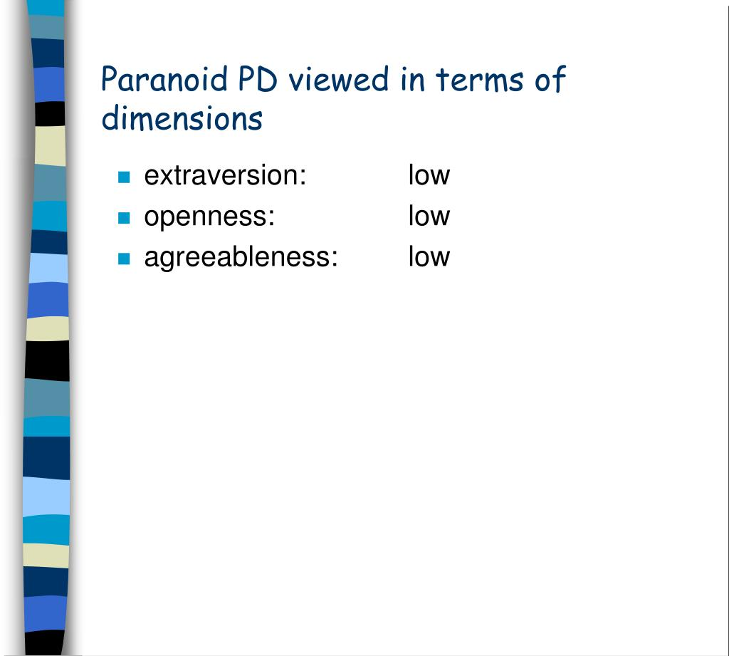 Paranoid PD viewed in terms of dimensions