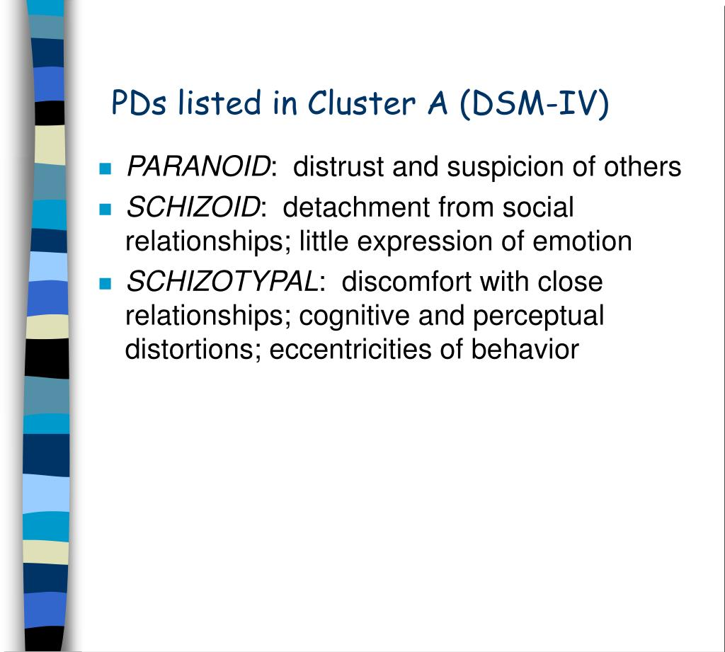 PDs listed in Cluster A (DSM-IV)