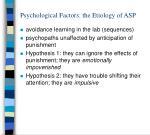 psychological factors the etiology of asp