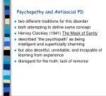 psychopathy and antisocial pd