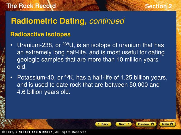 Dating rocks with uranium 238