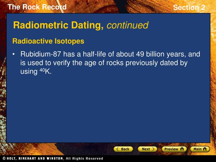 How is radiometric hookup used to determine the age of rocks