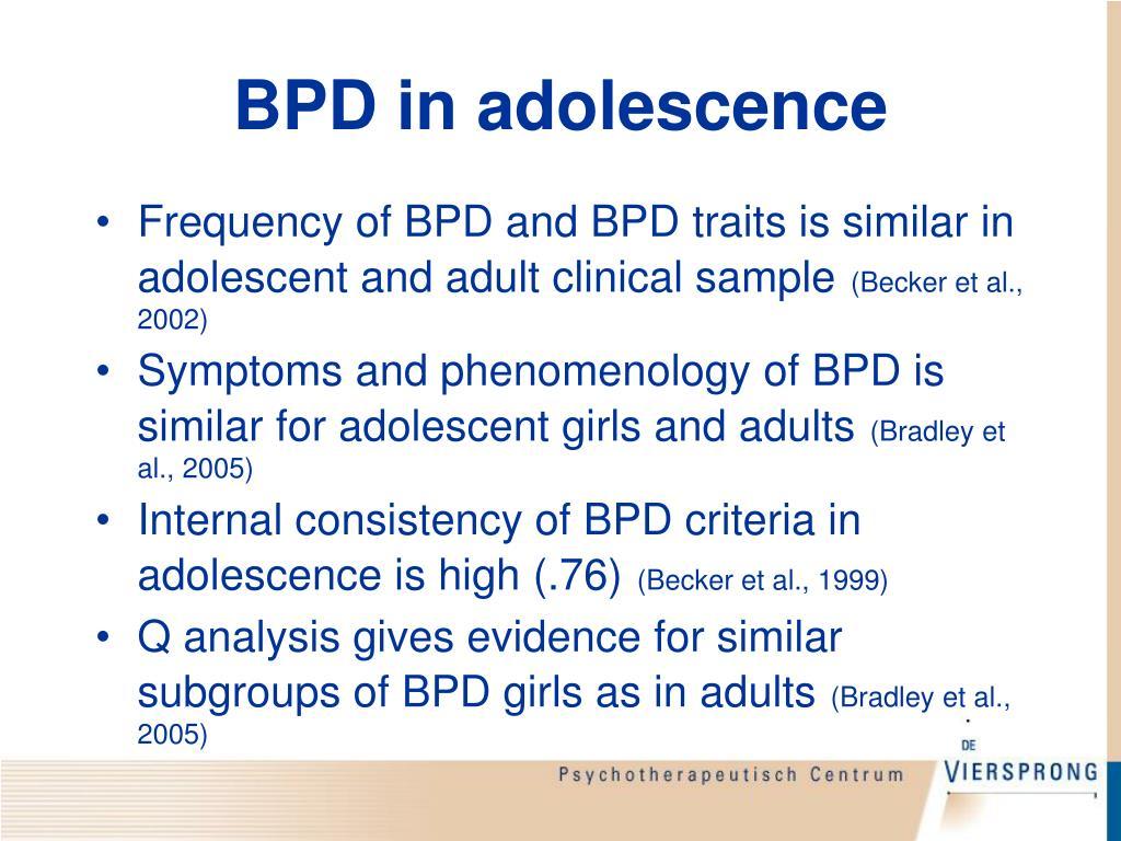 BPD in adolescence