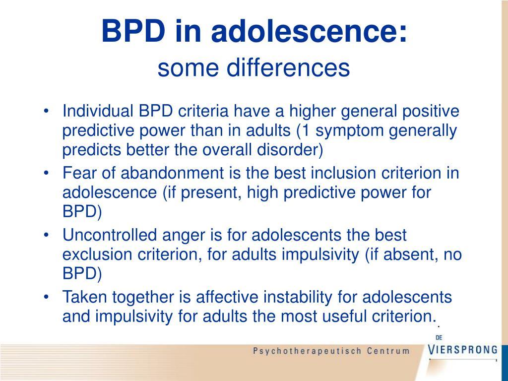 BPD in adolescence: