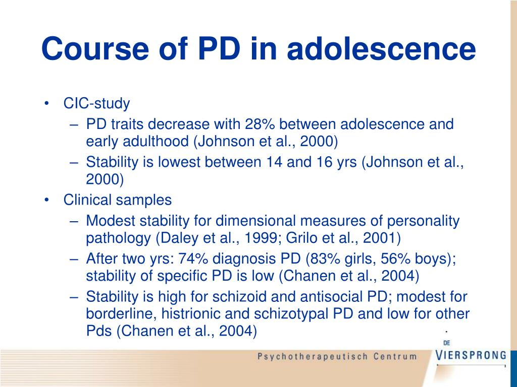 Course of PD in adolescence