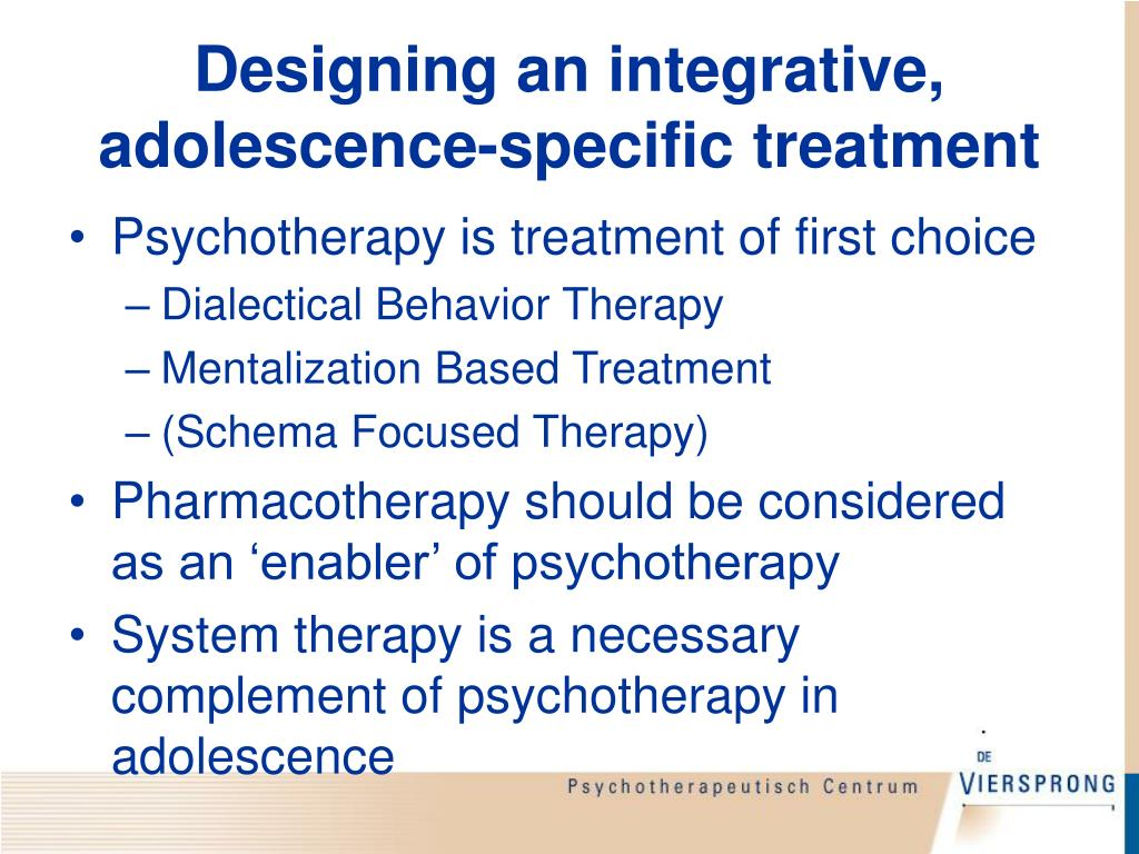 Designing an integrative, adolescence-specific treatment