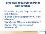 empirical research on pd in adolescence