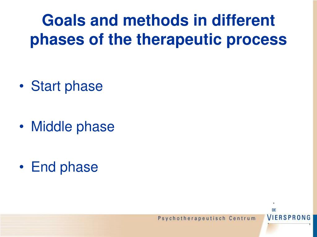 Goals and methods in different phases of the therapeutic process